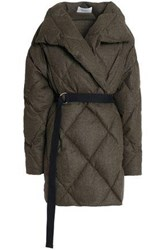 Pringle Quilted Brushed Wool Blend Down Coat Army Green