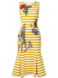 Dolce And Gabbana Embellished Striped Dress Yellow And Orange