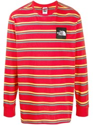 The North Face Long Sleeve Striped Print Top Red