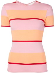 Christian Siriano Striped T Shirt Pink And Purple