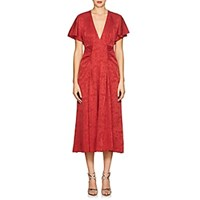 Masscob Mila Silk Blend Jacquard V Neck Dress Red