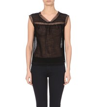 Sandro Sleeveless Mesh Top Noir
