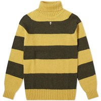 Nigel Cabourn Rugby Stripe Seamless Roll Neck Yellow