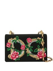Dolce And Gabbana Logo Floral Embroidered Bag Black
