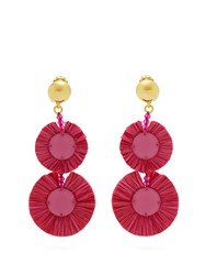 Oscar De La Renta Bead Embellished Raffia Disc Drop Earrings Pink