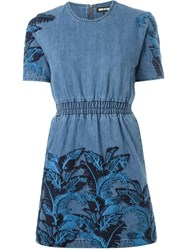 House Of Holland Denim Lace Overlay Dress Blue
