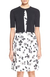 Lela Rose Cropped Short Sleeve Cardigan Black