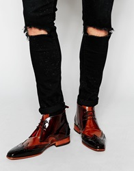 Jeffery West Leather Brogue Chukka Boots Brown