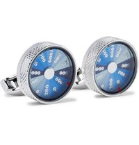 Tateossian Wheel Of Fortune Rhodium Plated And Enamel Cufflinks Silver