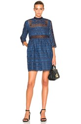 Sea Eyelet And Lace Dress In Blue