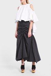 Ellery Women S Dollface Ruched Satin Twill Maxi Skirt Boutique1 Grey