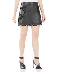 Bcbgmaxazria Jennifer Embroidered Faux Leather Skirt Black
