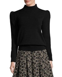 Co Mock Neck Sweater With Exaggerated Shoulders Black