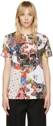 Alexander Mcqueen White Floral Skull Classic T Shirt