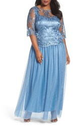 Brianna Plus Size Women's Embellished Mesh Gown