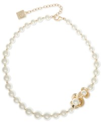 Anne Klein Gold Tone Imitation Pearl Flower Collar Necklace