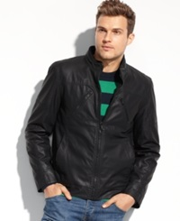 Guess Coats Lightweight Faux Leather Moto Jacket