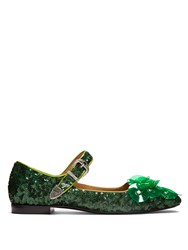 Toga Sequin Square Toe Embellished Ballet Flats Green