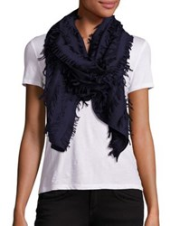 Chloe Wool And Silk Fil Coupe Scarf Powder Navy