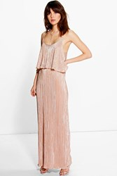 Boohoo Metallic Pleated Maxi Dress Peach