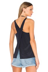 Bella Luxx Overlap Cross Back Tank Navy