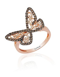 Levian 14K Rose Gold Chocolate And Vanilla Diamond Butterfly Ring