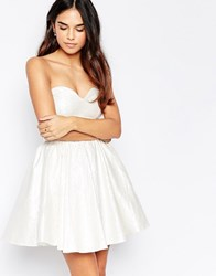 Oh My Love Textured Sweetheart Skater Dress Silver Pearlecent