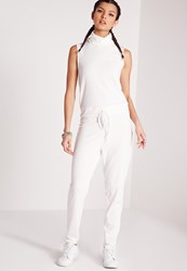 Missguided Roll Neck Skinny Rib Jumpsuit White Cream