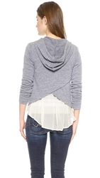 Splendid Clayton Chiffon Zip Up Heather Grey Cream