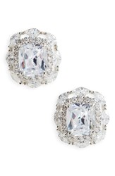 Nina Women's Large Cubic Zirconia Stud Earrings Silver
