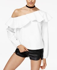 Minkpink On The Sly Ruffled One Shoulder Top Off White