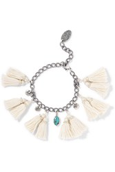 Chan Luu Tasseled Silver And Turquoise Bracelet White Turquoise