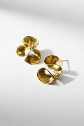 Anthropologie Petite Ruffle Wave Earrings Gold