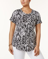 Jm Collection Plus Size Printed Short Sleeve Top Only At Macy's Black Dash Deep