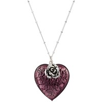 Martick Bohemian Glass Heart Pendant Necklace Blackberry Rose
