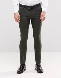 Asos Super Skinny Smart Trousers With Contrast Waistband In Khaki Khaki Green