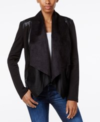 Kut From The Kloth Faux Leather Trim Draped Jacket Black