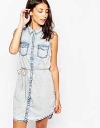 Only Denim Belted Shirt Dress Mediumbluedenim