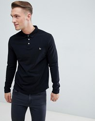 Jack Wills Long Sleeve Staplecross Polo In Black