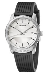 Calvin Klein Evidence Silicone Band Watch 42Mm Black Silver