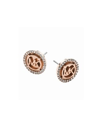 Michael Kors Logo Rose Gold Tone Stud Earrings