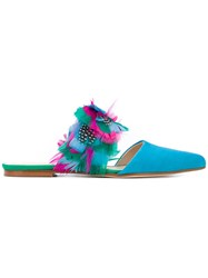 Anna Baiguera Feathers Applique Sandals Women Leather Suede 40 Blue