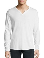 Joe's Jeans Wintz Long Sleeve Henley Shirt Optic White Navy