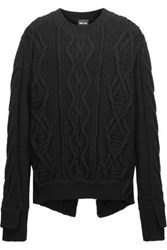 Just Cavalli Cable Knit Wool Sweater Black