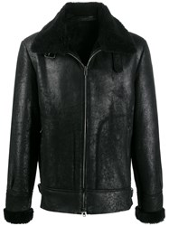 Salvatore Santoro Zipped Shearling Coat Black
