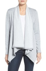 Bobeau Women's Peplum Back Open Front Cardigan Lt Heather Grey