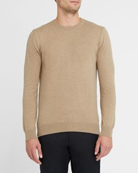 Knowledge Cotton Apparel Beige And Cashmere Round Neck Sweater