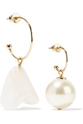 Simone Rocha Gold Tone Faux Pearl Earrings Cream