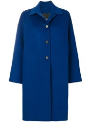 Calvin Klein 205W39nyc Three Buttoned Coat Cotton Virgin Wool Blue