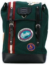 Bally Alpina Backpack Men Cotton Leather One Size Green